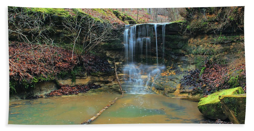 Waterfall Hand Towel featuring the photograph Waterfall At Don Robinson State Park 1 by Greg Matchick