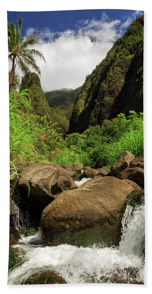 Waterfall Bath Sheet featuring the photograph Waterfall At The Iao Needle by James Eddy