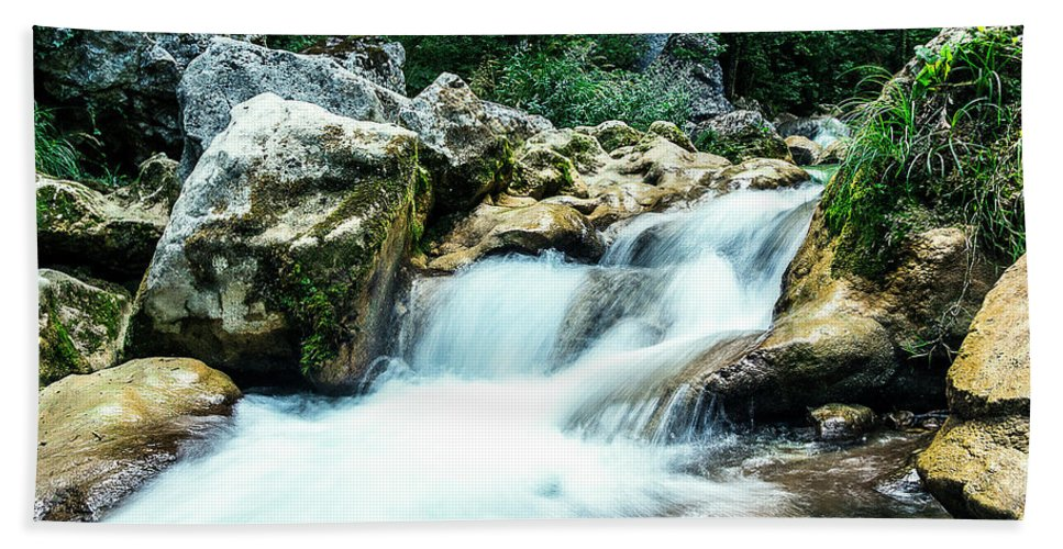 Waterfall Bath Sheet featuring the photograph Waterfall by Florian LEPREST