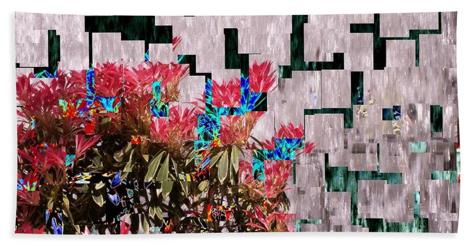 Waterfall Bath Towel featuring the photograph Waterfall Flowers 2 by Tim Allen