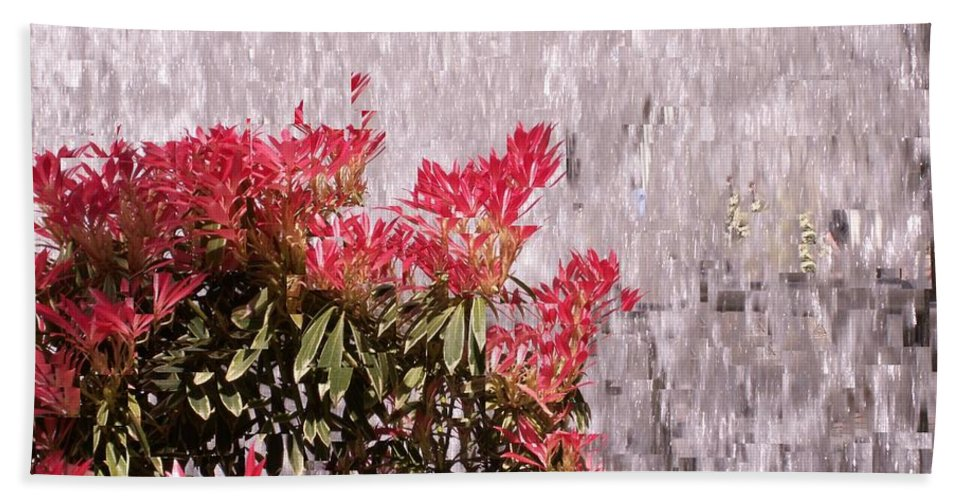 Waterfall Bath Towel featuring the photograph Waterfall Flowers by Tim Allen