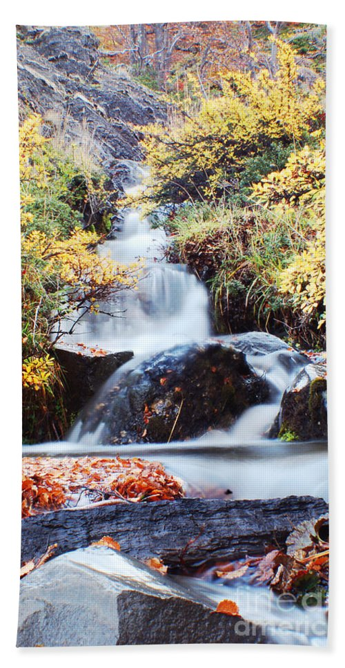 Hand Towel featuring the photograph Waterfall In Autumn by Mircea Costina Photography