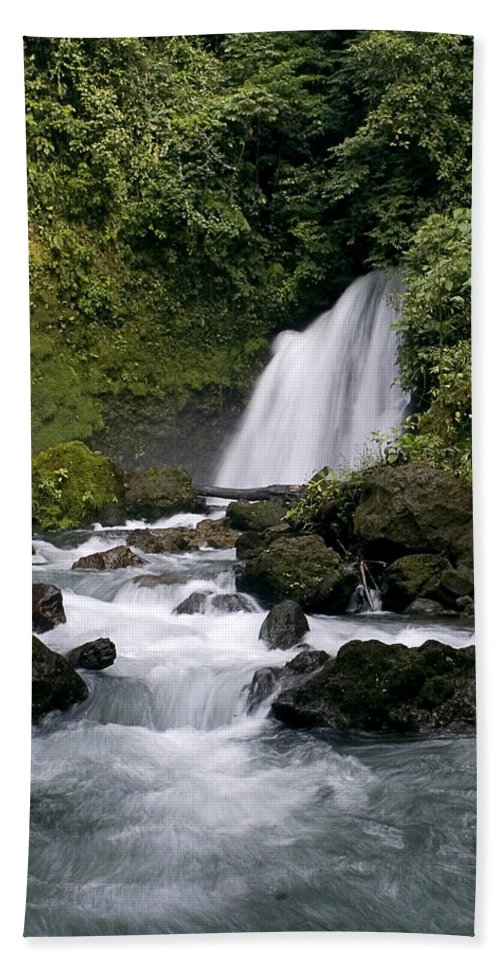 Costa Rica Hand Towel featuring the photograph Waterfall In La Fortuna by Patricia Bolgosano