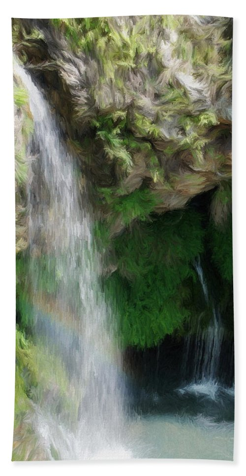 Waterfall Hand Towel featuring the painting Waterfall by Jeffrey Kolker