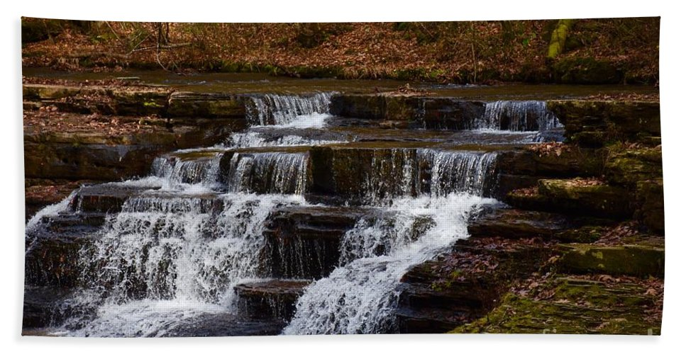 Waterfall Hand Towel featuring the photograph Waterfall by Hughes Country Roads Photography