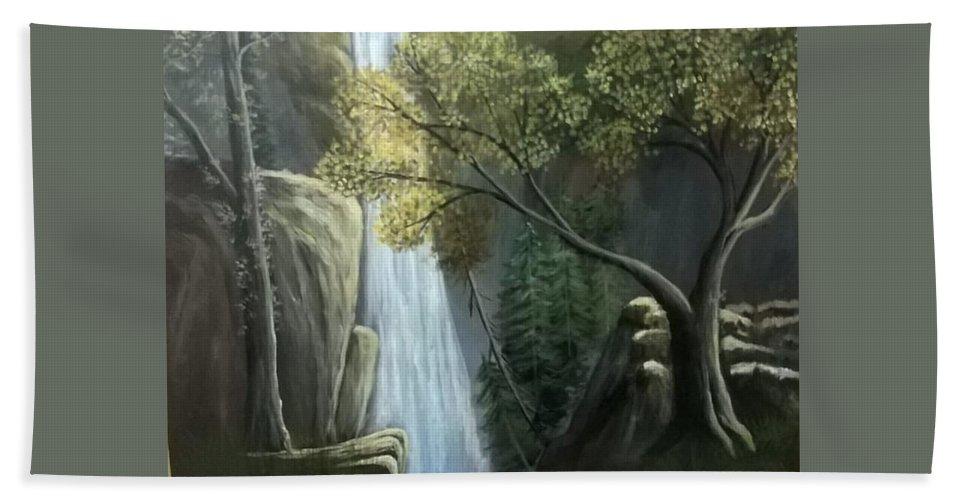 Landscape Bath Sheet featuring the painting Waterfall by Muniba Urooj