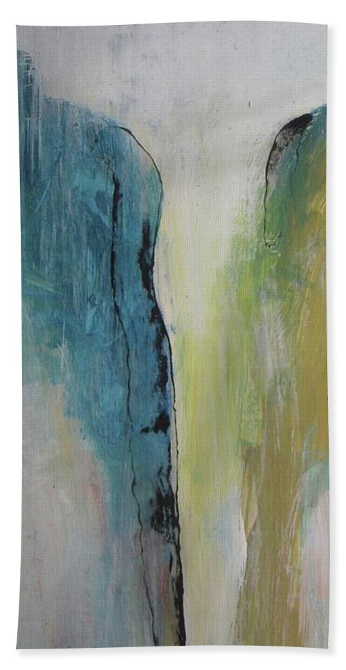 Abstract Hand Towel featuring the painting Waterfall by Vesna Antic