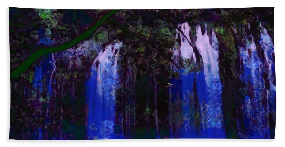Waterfall Visual Hand Towel featuring the digital art Waterfall Visual by Catherine Lott