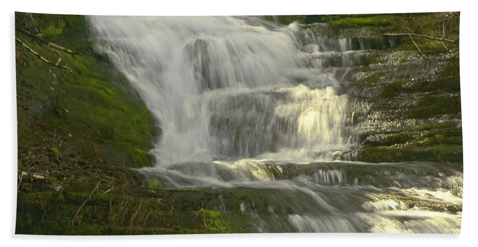 Waterfall Hand Towel featuring the photograph Waterfall02 by Svetlana Sewell