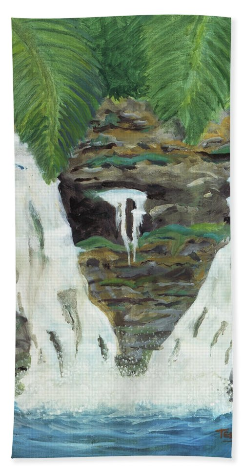 Water Hand Towel featuring the painting Waterfalls by Terry Lewey