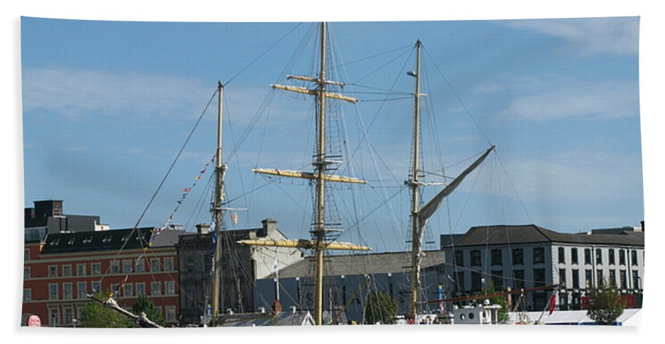 Tall Ship Hand Towel featuring the photograph Waterford Harbour July 2011 by Maria Joy