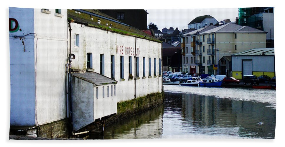 River Hand Towel featuring the photograph Waterfront Factory by Tim Nyberg