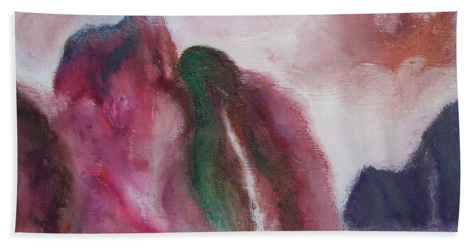 Abstract Painting Bath Sheet featuring the painting Waterfull by Suzanne Udell Levinger