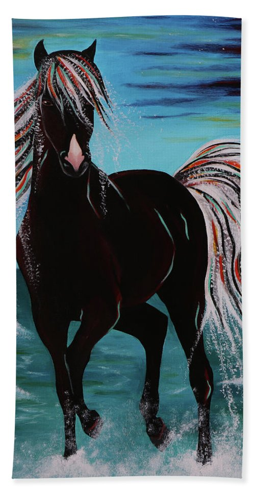 Horse Bath Towel featuring the painting Waterhorse by Nicole Paquette