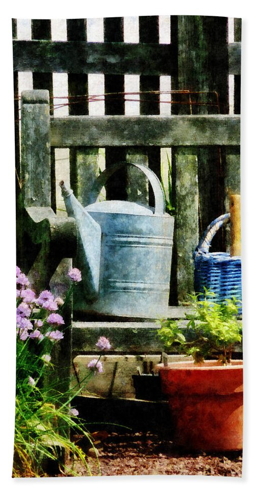 Flowers Bath Sheet featuring the photograph Watering Can And Blue Basket by Susan Savad