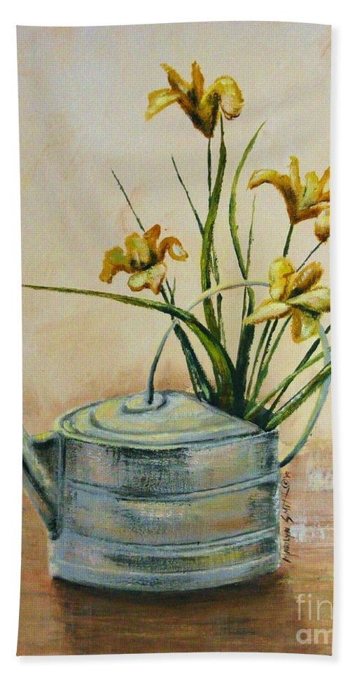 Still Life Hand Towel featuring the painting Watering Can by Marilyn Smith