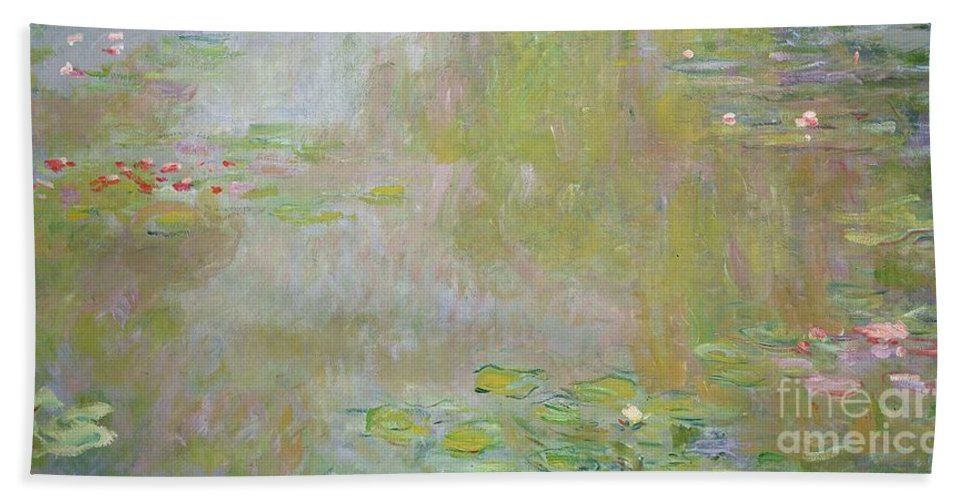 Waterlilies At Giverny Bath Towel featuring the painting Waterlilies at Giverny by Claude Monet