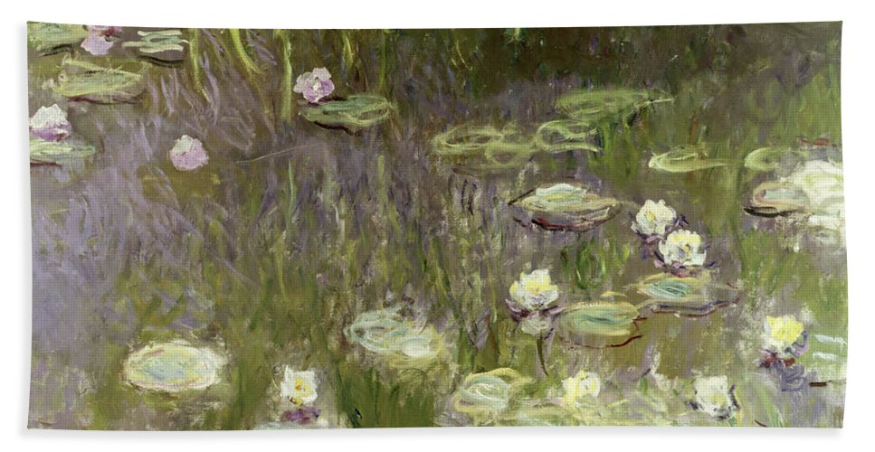 Waterlilies At Midday Hand Towel featuring the painting Waterlilies At Midday by Claude Monet