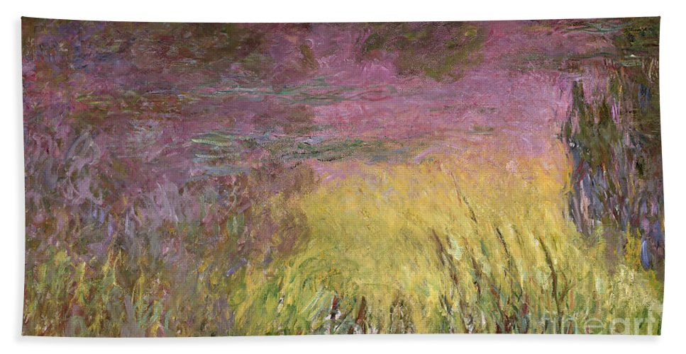 Waterlilies At Sunset Hand Towel featuring the painting Waterlilies At Sunset by Claude Monet