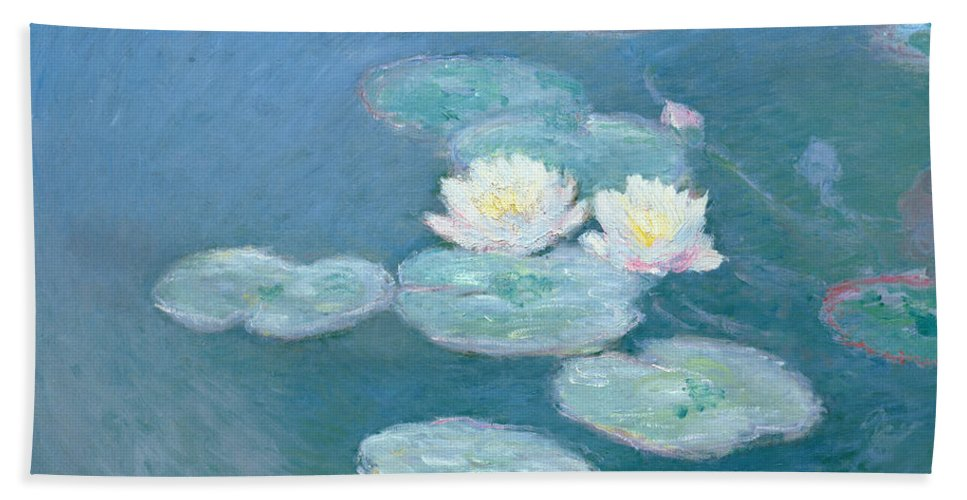 Waterlilies Hand Towel featuring the painting Waterlilies Evening by Claude Monet