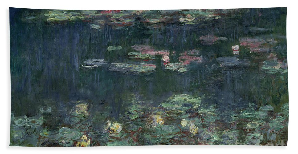 Monet Hand Towel featuring the painting Waterlilies Green Reflections by Claude Monet