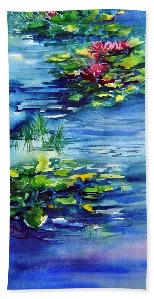 Waterlilies Hand Towel featuring the painting Waterlilies by Joanne Smoley