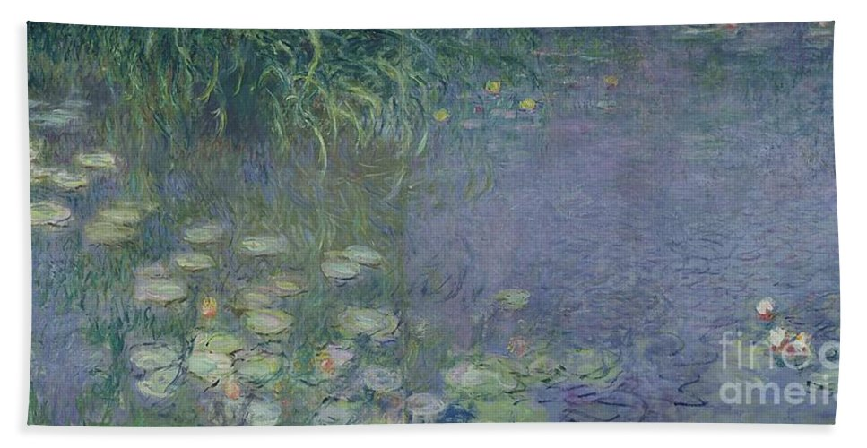 Impressionist;nympheas;matin;quadriptych;water;lily;lilies;waterlily Bath Sheet featuring the painting Waterlilies Morning by Claude Monet