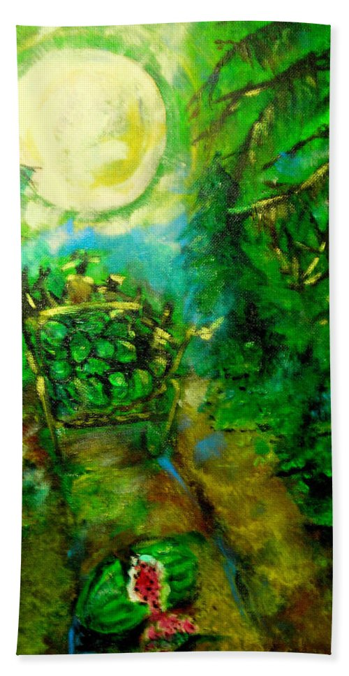 Watermelon Wagon Moon Hand Towel featuring the painting Watermelon Wagon Moon by Seth Weaver