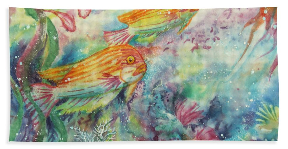 Fish Bath Sheet featuring the painting Watery World 1 by Deborah Younglao