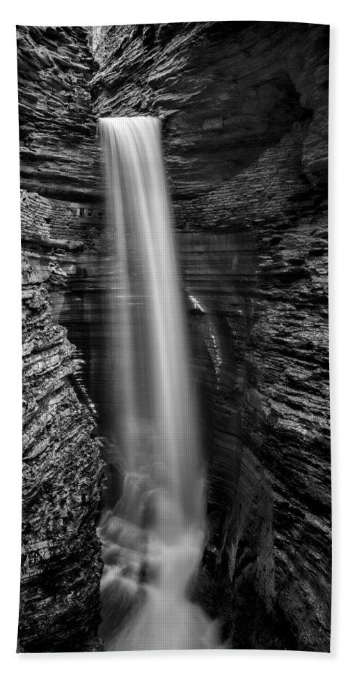Watkins Glen Hand Towel featuring the photograph Watkins Glen Cavern Cascade #3 by Stephen Stookey