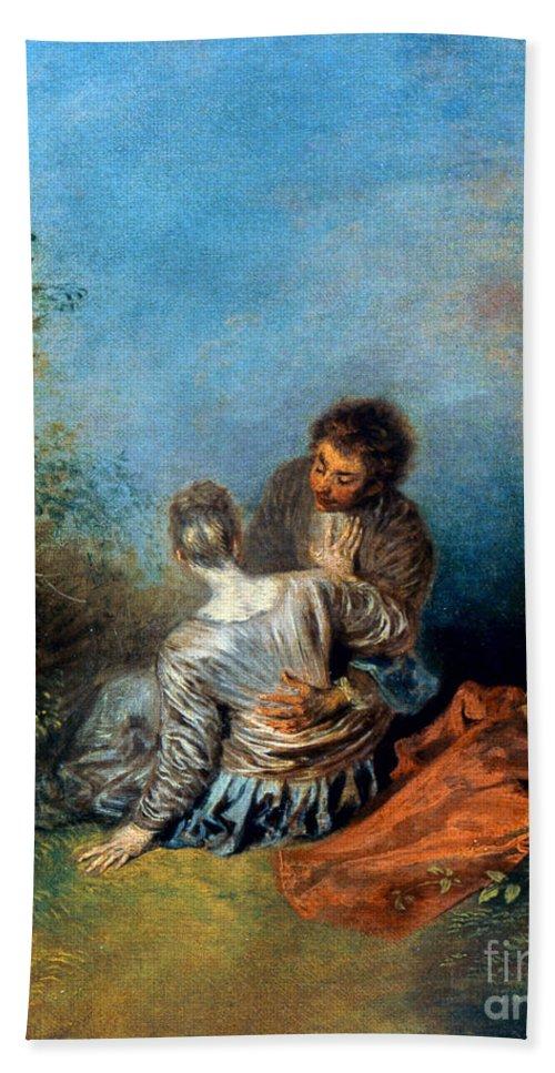 1717 Bath Sheet featuring the photograph Watteau: False Step, C1717 by Granger