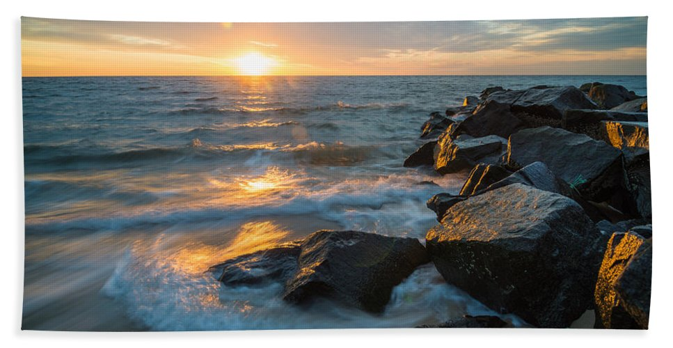 New Jersey Hand Towel featuring the photograph Wave Break by Kristopher Schoenleber