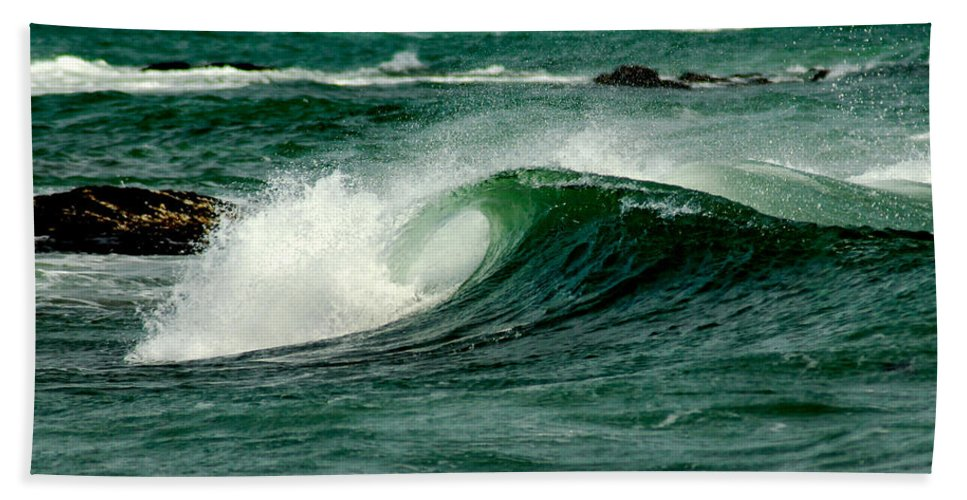 Water Bath Sheet featuring the photograph Wave Curl by Greg Fortier
