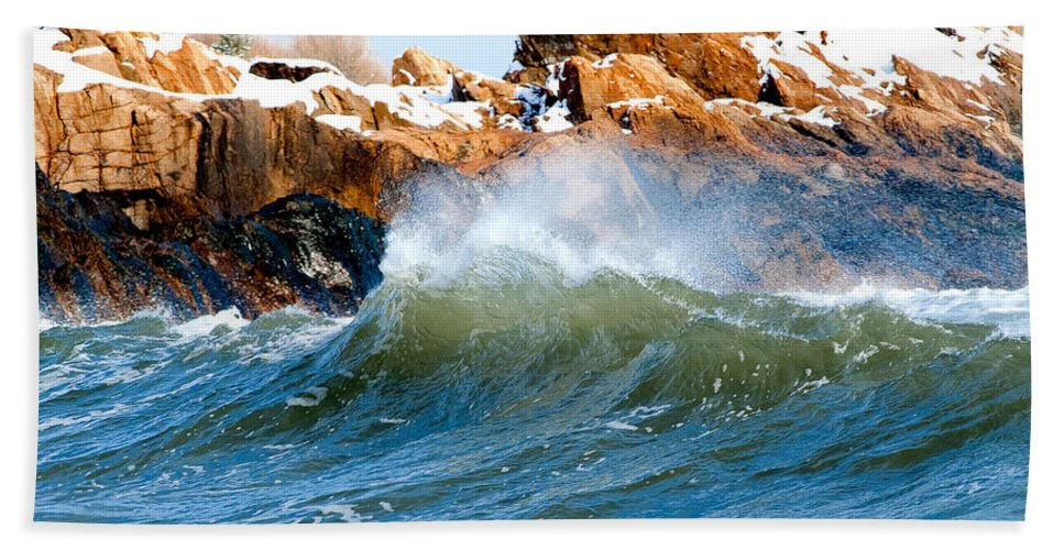 Gloucester Hand Towel featuring the photograph Wave Mirrors Rock by Greg Fortier