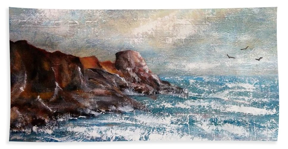 Hand Towel featuring the painting Waves 1 by Anthony Camilleri