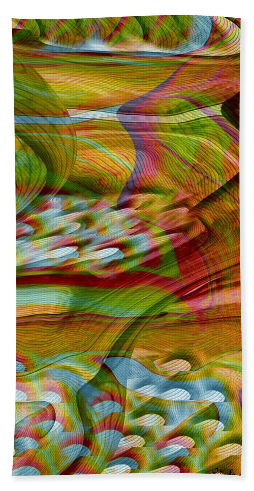 Abstracts Bath Towel featuring the digital art Waves And Patterns by Linda Sannuti