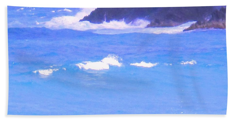Ocean Hand Towel featuring the photograph Waves Crashing by Ian MacDonald