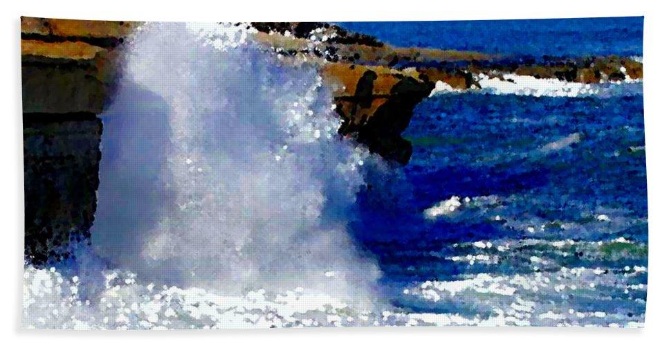 Waves Crashing On The Rocks Bath Sheet featuring the painting Waves Crashing On The Rocks by R Muirhead Art