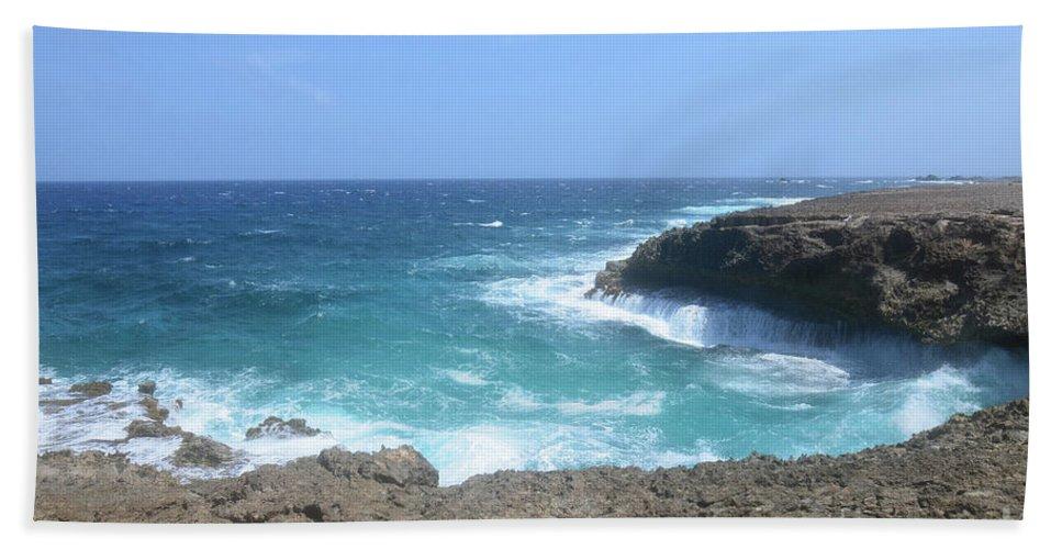 Daimari Bath Sheet featuring the photograph Waves Crashing On To The Lava Rock At Daimari Beach by DejaVu Designs