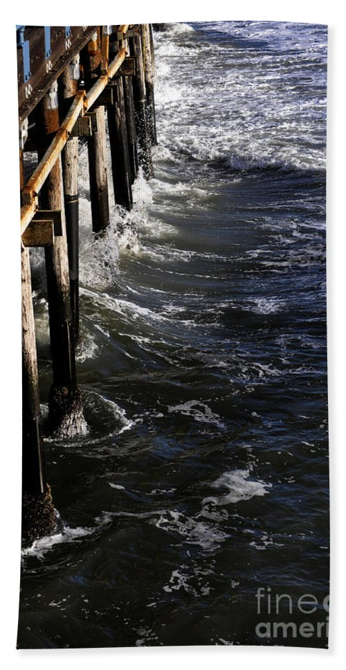Clay Bath Sheet featuring the photograph Waves Hitting Santa Monica Pier by Clayton Bruster