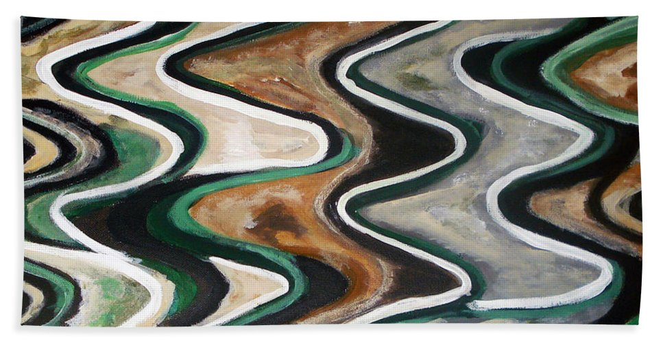 Acrylic Painting Hand Towel featuring the painting Waves Of Life by Yael VanGruber