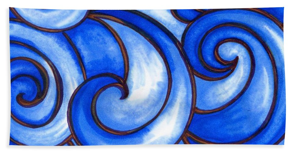 Water Bath Towel featuring the painting Waves of Mercy by Vonda Drees