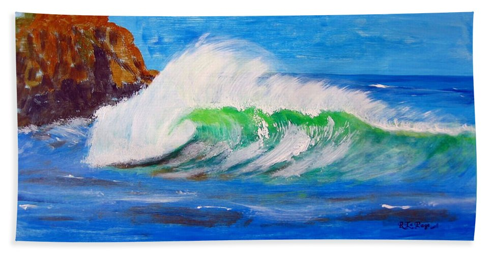 Waves Bath Towel featuring the painting Waves by Richard Le Page