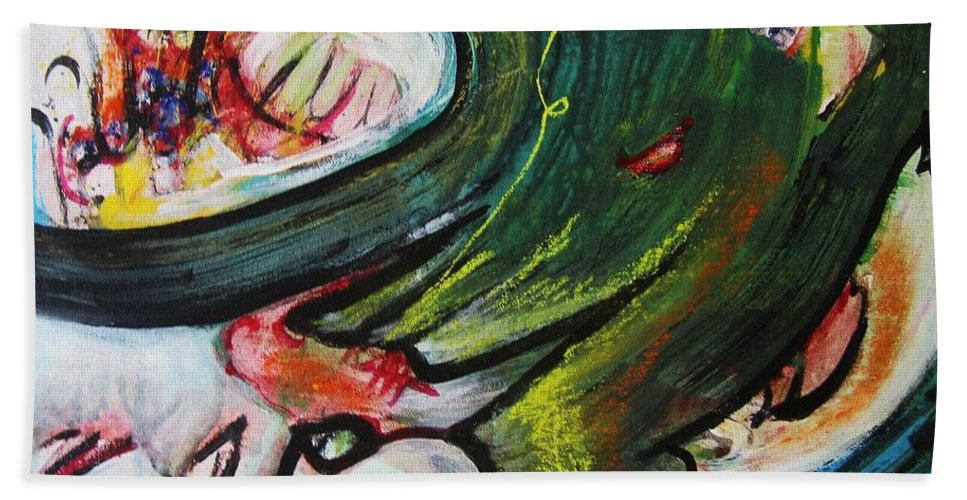 Abstract Paintings Paintings Abstract Art Paintings Bath Towel featuring the painting Waves by Seon-Jeong Kim