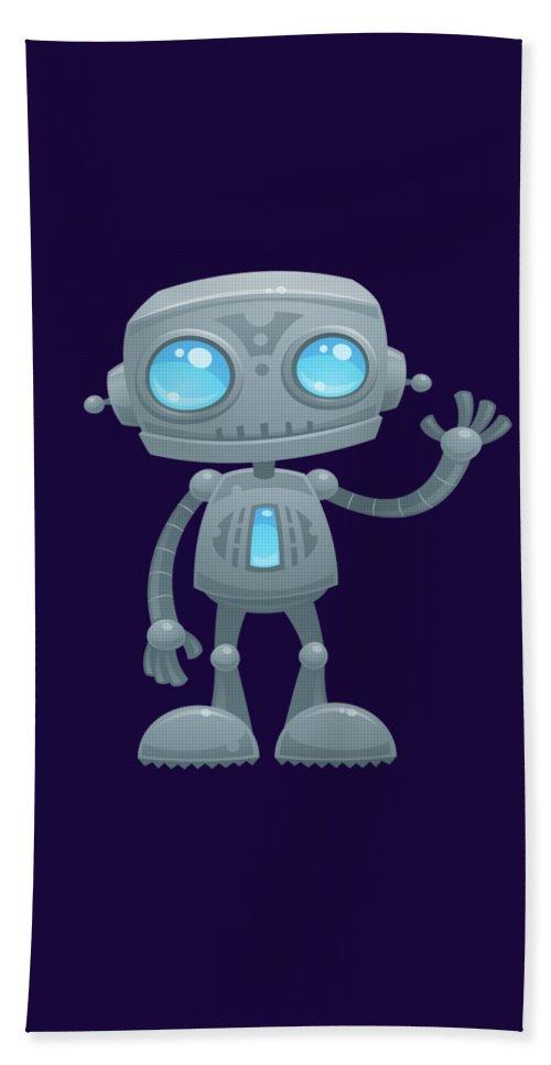 Robot Hand Towel featuring the digital art Waving Robot by John Schwegel