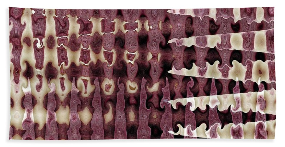 Abstract Bath Towel featuring the digital art Wax Sine by Ron Bissett
