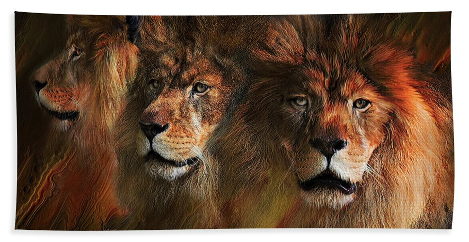Lion Bath Sheet featuring the mixed media Way Of The Lion by Carol Cavalaris