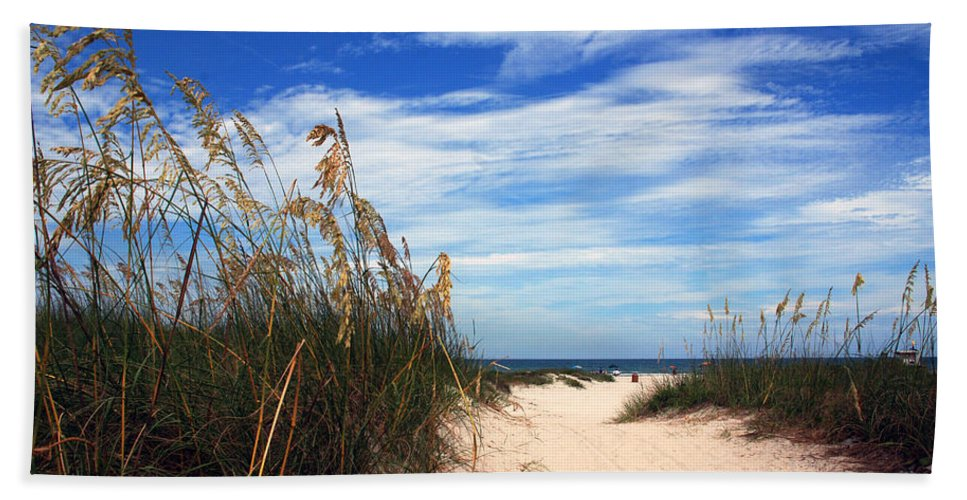 Beach Hand Towel featuring the photograph Way Out To The Beach by Susanne Van Hulst
