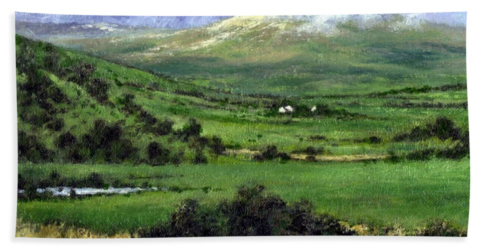 Landcape Bath Towel featuring the painting Way to Ardara Ireland by Jim Gola