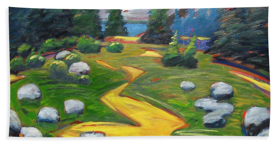Landscape Bath Sheet featuring the painting Way To The Lake by Gary Coleman